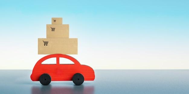 Livraison rapide du magasin à la maison. auto jouet rouge avec des boîtes sur fond bleu avec espace de copie. concept de logistique et de vente en gros. bannière.