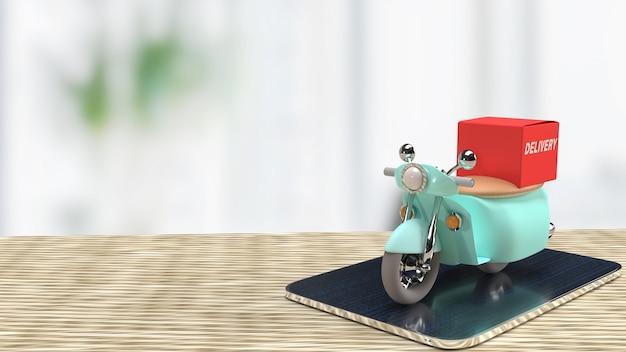 La livraison de vélo sur tablette pour le rendu 3d du concept d'applications
