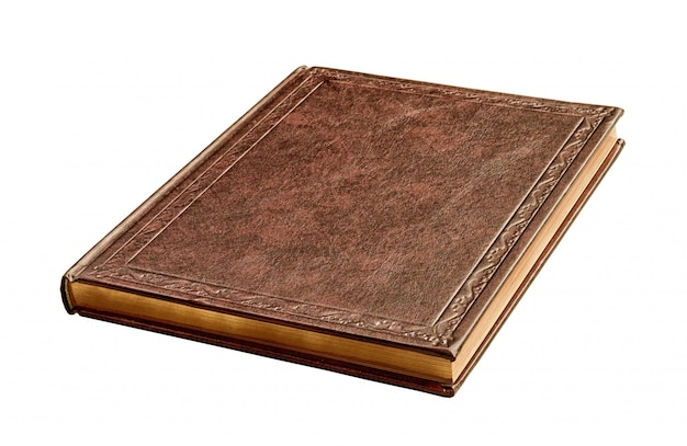 Livre brun avec des pages d'or isolées