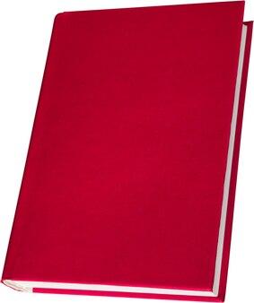 Livre à couverture rigide rouge vierge isolé sur fond blanc avec espace de copie