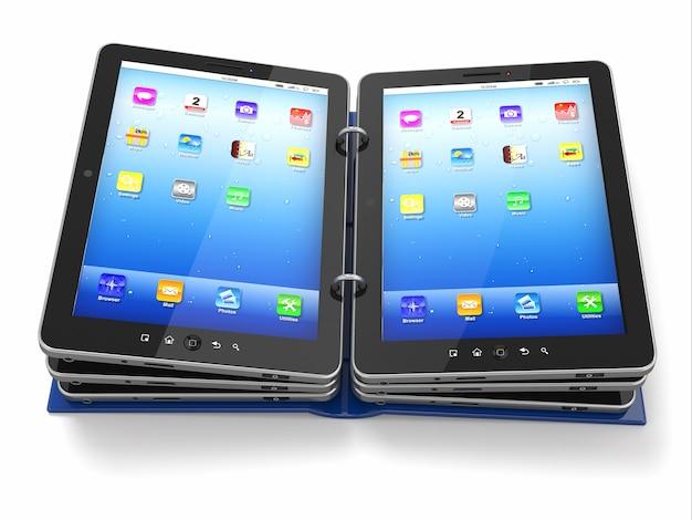 Livre ou dossier ouvert depuis un tablet pc