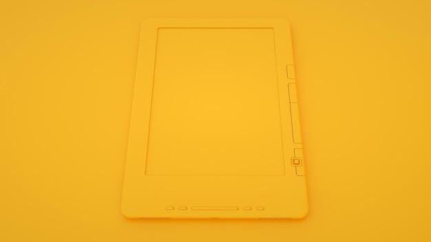 Livre électronique ou lecteur ebook sur fond jaune