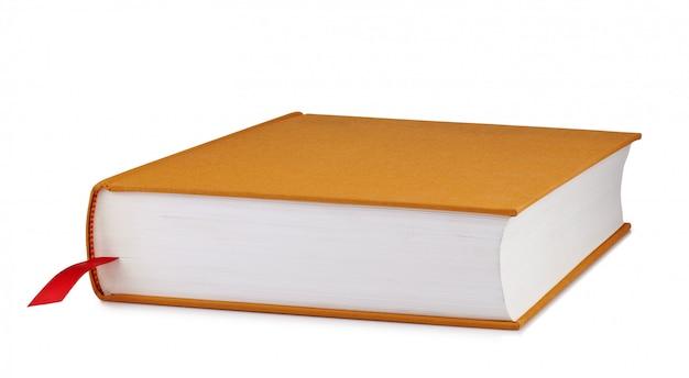 Livre marron avec un marque-page rouge