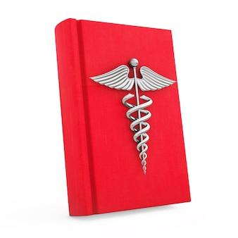 Livre médical avec symbole de caducée d'argent sur fond blanc. rendu 3d