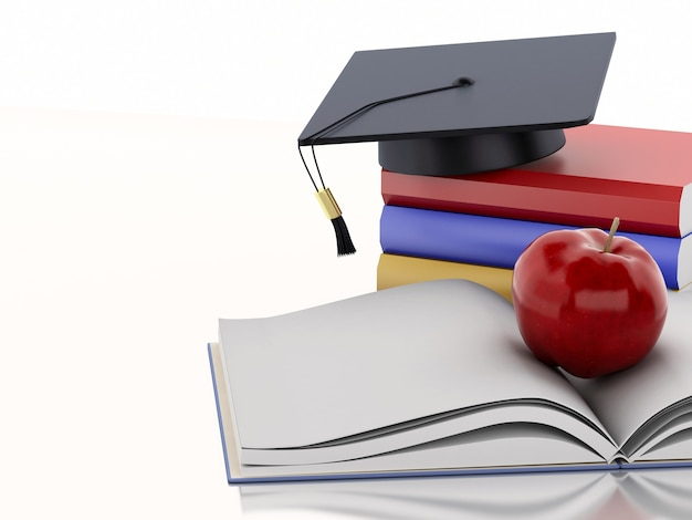 Livre ouvert en 3d avec une pomme, une casquette de graduation et une pile de livres.
