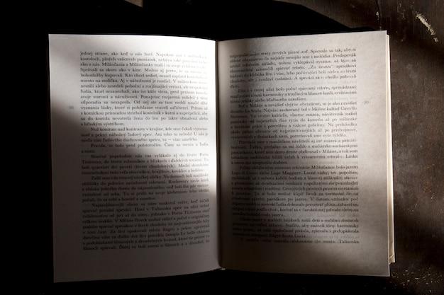 Livre ouvert sur gris
