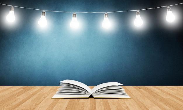 Livre ouvert sur une planche en bois
