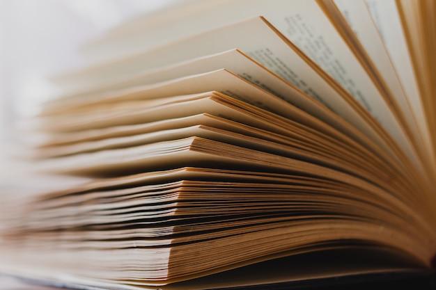 Livre ouvert sur la table, gros plan, salle lumineuse. réservez à la bibliothèque. concept pour la journée mondiale du livre
