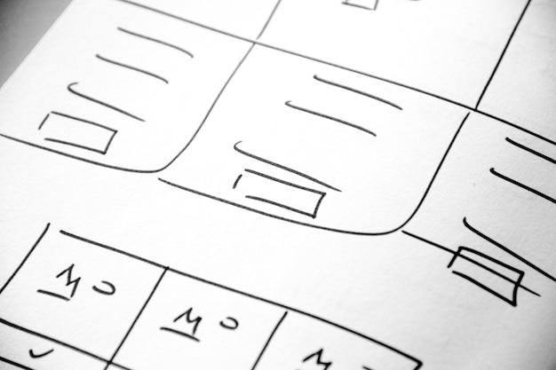 Livre de papier de croquis de mise en page web, wireframe - croquis mobile et web