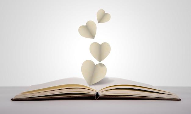 Livre qui laisse cœurs en papier
