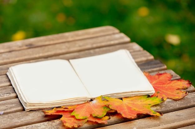 Livre vintage et feuilles d'érable sur une table dans un jardin