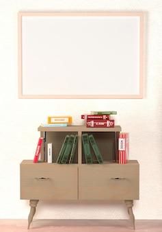 Livres sur une armoire rétro en bois et peinture avec une toile vierge au mur.