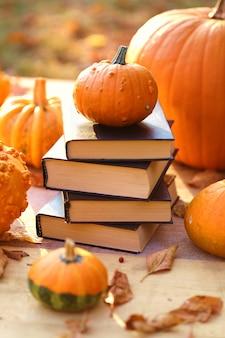 Livres d'automne. livres d'halloween. humeur d'automne confortable.