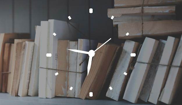 Livres horloge temps badge bannière