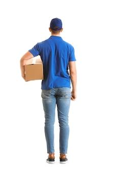 Livreur avec boîte isolée, vue arrière