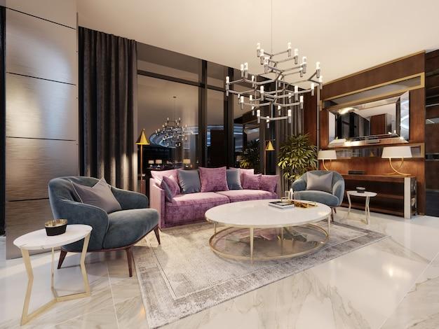 Lobby luxueux dans un hôtel moderne avec un canapé confortable et des fauteuils design. rendu 3d