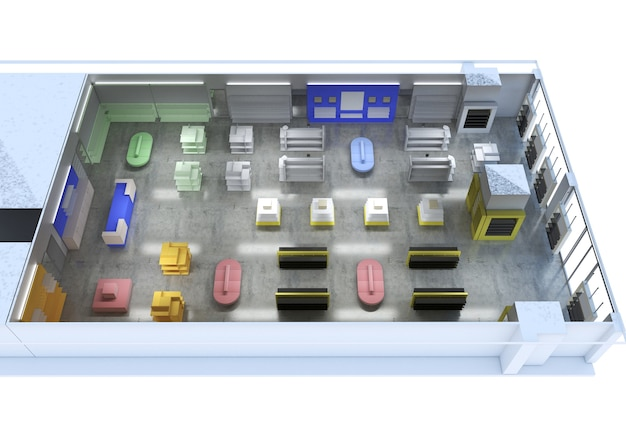 Local commercial, boutique, visualisation intérieure, illustration 3d