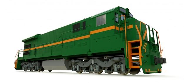 Locomotive ferroviaire diesel verte moderne avec une grande puissance et une grande force pour déplacer un train long et lourd