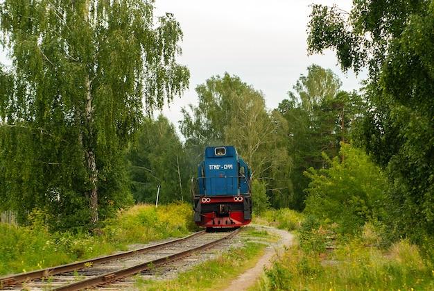 Locomotive de manœuvre tgm6 sur une voie ferrée au milieu de la forêt