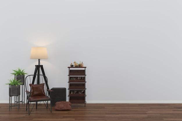 Loft chaise plancher en bois mur salon modèle lampe fond sac en cuir intérieur