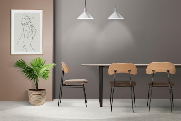 Loft design d'intérieur de salle à manger authentique avec un cadre photo