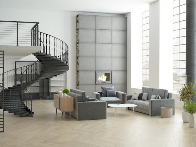 Loft à haut plafond avec de grandes fenêtres verticales