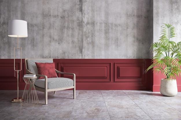 Loft moderne et intérieur vintage du salon, fauteuil et lampe dorée sur demi béton