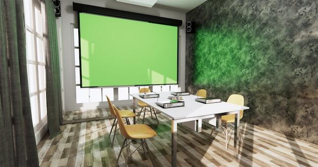 Loft office business business - belle salle de réunion et table de conférence au style moderne. rendu 3d