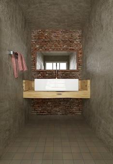 Loft de salle de bain minimaliste dans un style industriel, mur de briques rouges