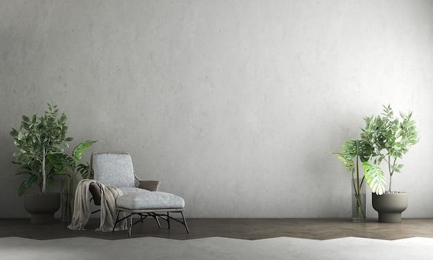 Loft salon et plancher en bois et texture de fond de mur en béton, rendu 3d