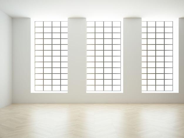 Loft vide avec de grandes fenêtres hautes de plafond et du parquet