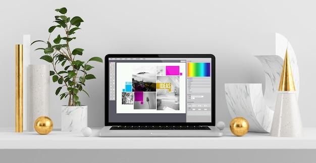 Logiciel de conception graphique sur ordinateur portable au bureau abstrait de rendu 3d
