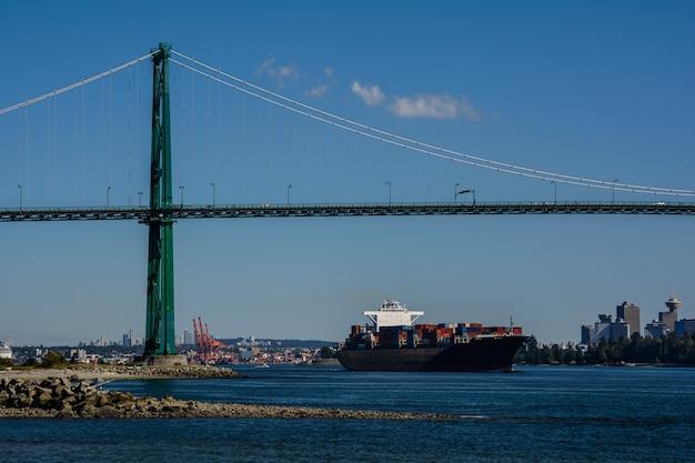 Logistique et transport de cargo international de conteneurs dans l'océan, navire nautique