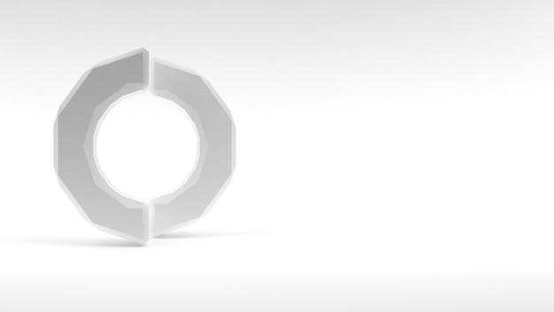 Logo anneau blanc de deux moitiés sur fond blanc. rendu 3d.