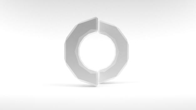 Logo anneau blanc de deux moitiés sur une surface blanche