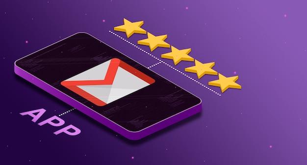 Logo de l'application gmail sur le téléphone avec une note de cinq étoiles 3d