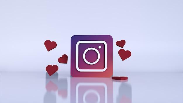 Logo de l'application instagram 3d. plateforme de médias sociaux instagram