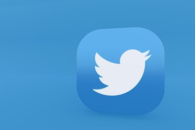 Logo de l'application twitter rendu 3d sur fond bleu