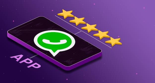 Logo de l'application whatsapp sur le téléphone avec une note de cinq étoiles 3d