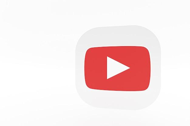 Logo de l'application youtube rendu 3d sur fond blanc