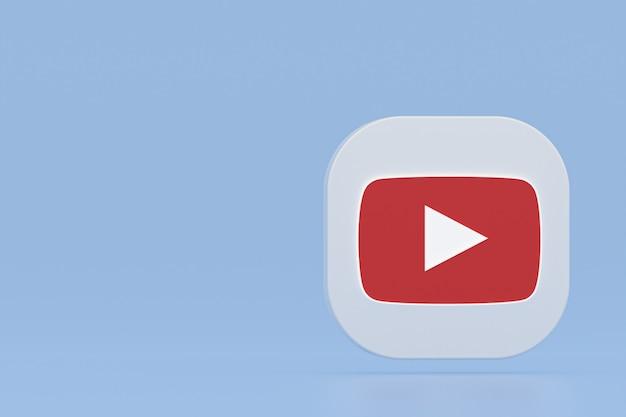 Logo de l'application youtube rendu 3d sur fond bleu