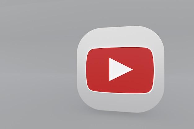 Logo de l'application youtube rendu 3d sur fond gris