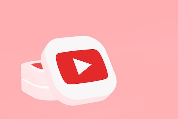 Logo de l'application youtube rendu 3d sur fond rose