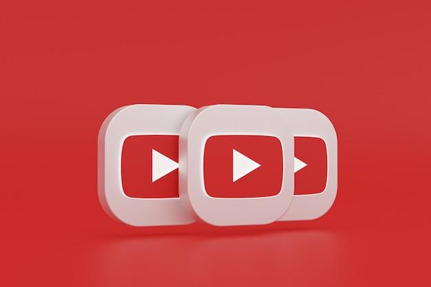 Logo de l'application youtube rendu 3d sur fond rouge