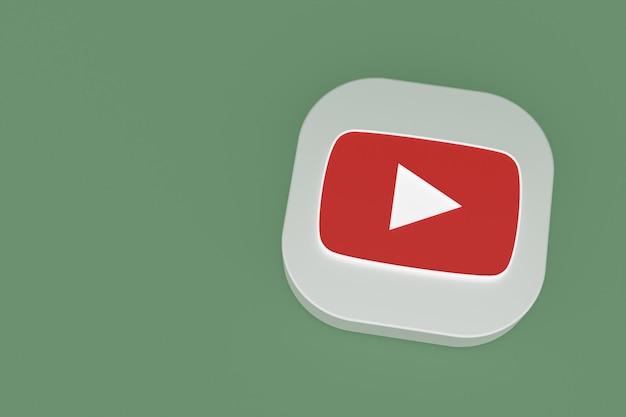 Logo de l'application youtube rendu 3d sur fond vert