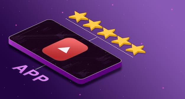 Logo de l'application youtube sur le téléphone avec une note de cinq étoiles 3d