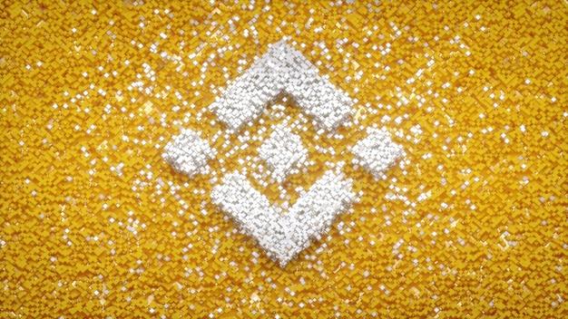Logo binance sur cube pixel abstrait arrière-plan concept cryto-monnaie illustration 3d