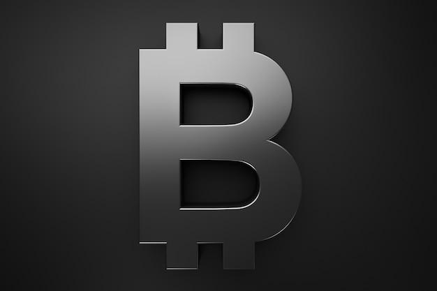 Logo bitcoin dans un style noir. thèmes de crypto-monnaie.