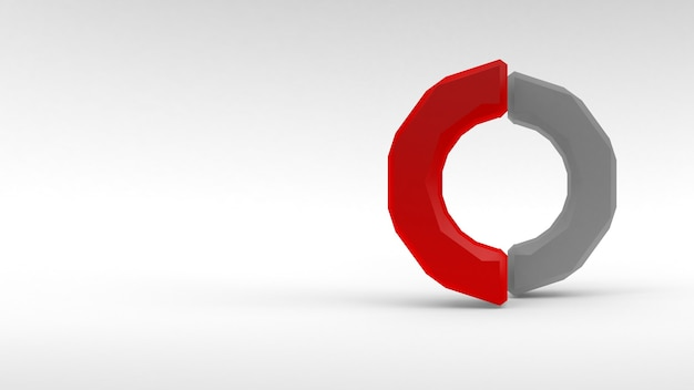 Logo blanc-rouge anneau de deux moitiés sur fond blanc. rendu 3d.