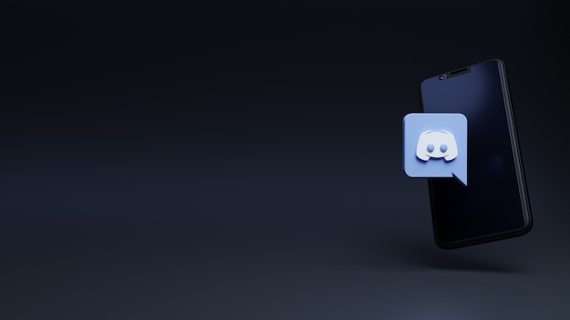 Logo discord en icône moderne pour les médias sociaux avec le modèle de rendu 3d du smartphone